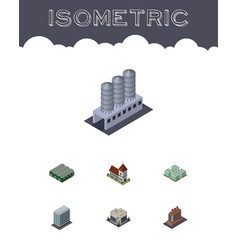 isometric building set of office company clinic vector image