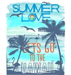 summer Sunset at tropical beach hawaii vector image vector image