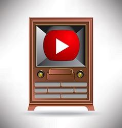 Vintage tv movie button vector
