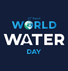 water day text blue vector image vector image