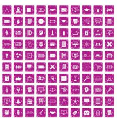 100 plan icons set grunge pink vector