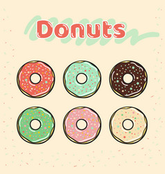 Colorful set of glazed donuts with caramel and vector