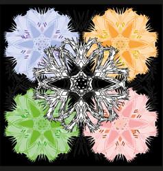 colorful set of pastel floral ornamental designs vector image vector image