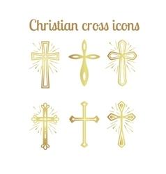 Golden christian cross icons set vector image