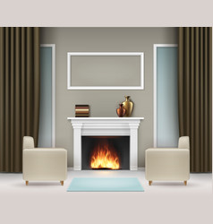 interior with fireplace vector image vector image