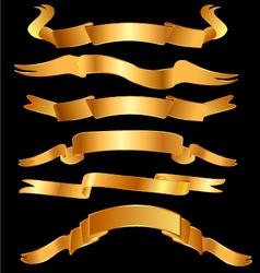 Set gold ribbons vector image