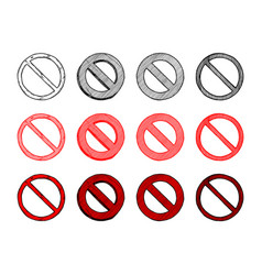 Set of prohibition sign vector