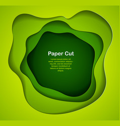 3d abstract green background with paper cut vector