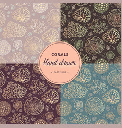 a hand-drawn collection of coral and sea seamless vector image