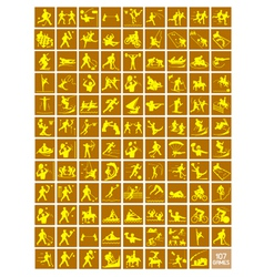 A Set of Yellow and Light Brown Sport Icons vector