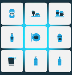 alcohol icons colored set with elite rum mojito vector image