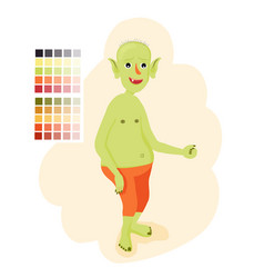 Bald toothless orc stupid goblin or troll vector