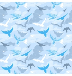 Birds flying in the sky seamless pattern vector image