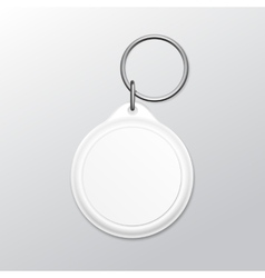 Blank Round Keychain with Ring and Chain for Key vector image