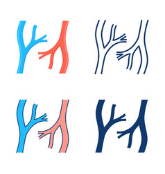Blood vessels icon set in flat and line style vector