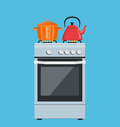 Boiling pot and kettle on stove vector