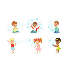 Boys and girls play with soap bubbles vector