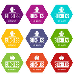 buckle quality icons set 9 vector image