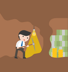 Businessman with pickaxe digging cave for finding vector