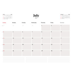 Calendar template for july 2021 business monthly vector