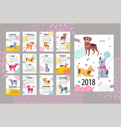 Calendar with months and dogs vector