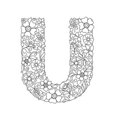 Capital letter u patterned with abstract flowers vector