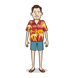 Cartoon color character - young man in hawaiian vector