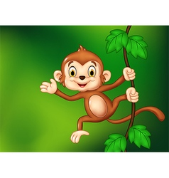 Cartoon funny monkey hanging and waving hand vector
