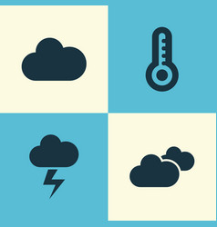Climate icons set collection of cloudy weather vector