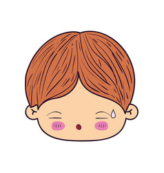 Colorful caricature kawaii face little boy with vector