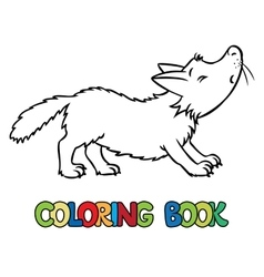 Coloring book of lttle funny wolf vector