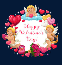 cupids hearts flowers and ring valentines day vector image