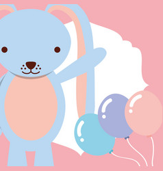 cute blue rabbit with balloons decoration vector image