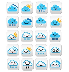 Cute cloud - Kawaii Manga buttons with different vector image