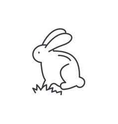cute easter bunny line icon concept cute easter vector image