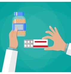 Doctor hand holding box of pills and capsules vector