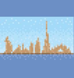 dubai city skyline pixel art background vector image