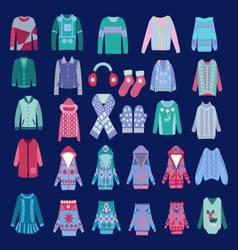 Fashion of cozy winter clothes and accessories vector image