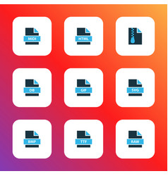 file icons colored set with file gif file svg vector image