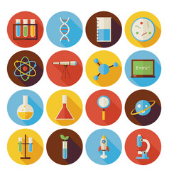 Flat Science and Education Circle Icons Set with vector image