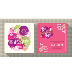 Floral cherry blossom wedding invitation card vector