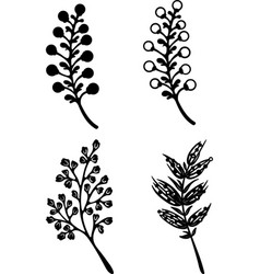 Flowers black silhouette on a white background vector