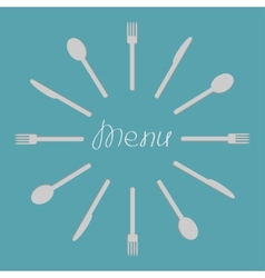 Fork knife spoon round frame Menu cover template vector image