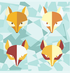 Four paper foxes turquoise poster vector