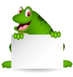 Frog cartoon with blank sign vector