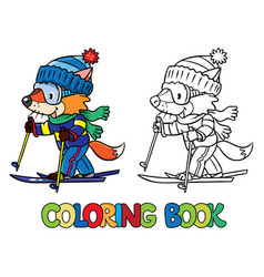 Funny fox rides on skis coloring book vector