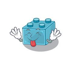 Funny lego brick toys mascot design with tongue vector