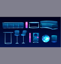 Furniture for night club or bar interior design vector