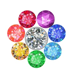 Gemstone brooch vector image