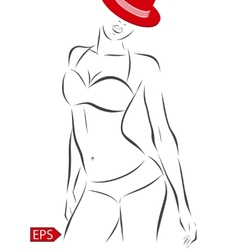 girl in bikini on a white background vector image